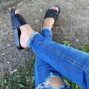 Black Rhinestone Embellished Slides